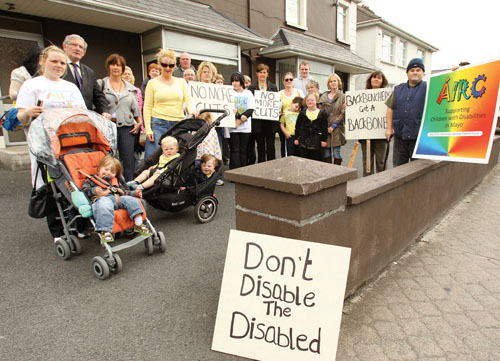 Protestors against respite care cuts outside Deputy Beverley Flynn's constituency office in Newtown Castlebar on Wednesday last. Photo: © Michael Donnelly.
