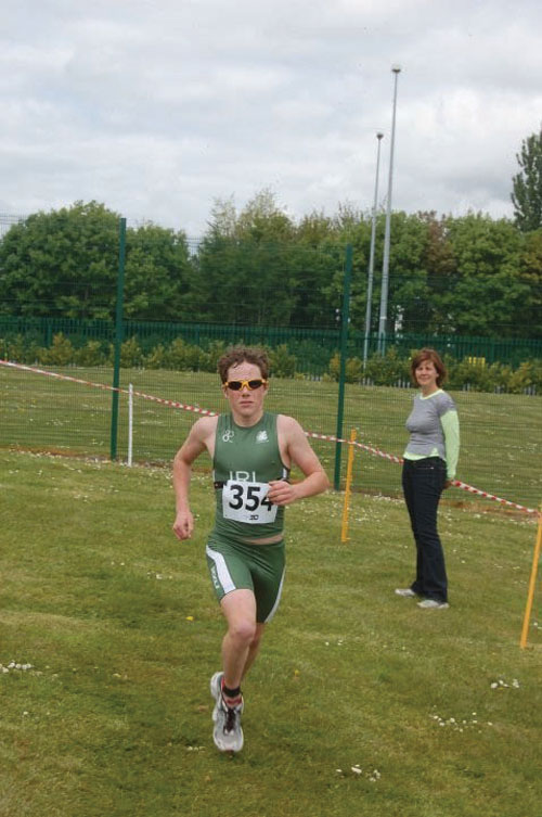 Westport's 14-year old Con Doherty competing in a triathlon.