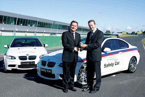 Pictured at the handover of two new BMW M3 cars at Mondello Park were (L-R) Michael Nugent, sales and marketing director of BMW Group Ireland and John Morris, managing director at Mondello Park.