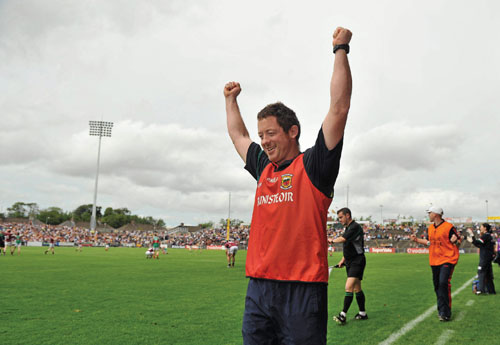 Mayo manager Tony Duffy celebrates at the final whistle. Photo: Brian Lawless / SPORTSFILE