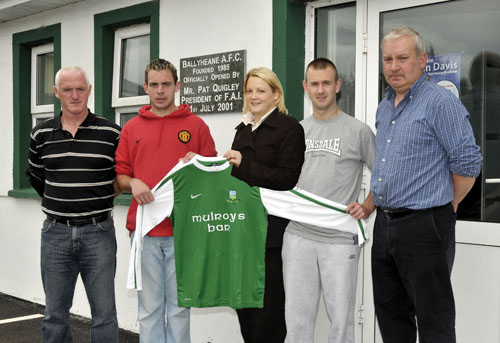 Ballyheane soccer club sponsorship prize draw runner up Mulroy's Bar. Left to right: Tom Burke (manager), Padraic Mulroe (team captain), Toni Bourke (Mulroy's Bar runner up), Martin Roche, and Noel Tuffy (treasurer).  Photo: Ken Wright Photography 2010.