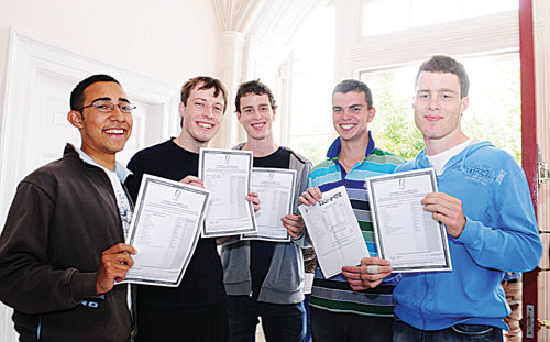 Yeats College students Chris de Souza, Galway (575 pts), Darrell Martin, Knocknacarra (580 pts), Eoghan O'Connor, Dangan (590 pts), Gerard Browne, Ennis (565 pts) and Diarmuid O'Connor, Dangan (590 pts) , celebrating their success in the Leaving Certificate this week.