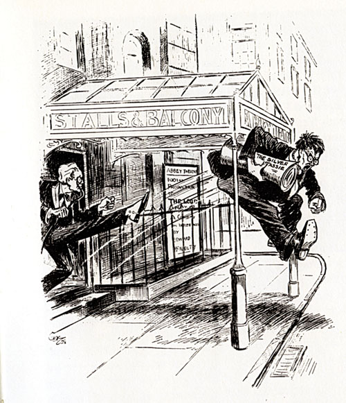 The Abbey says no: The famous contemporary cartoon by Charles Kelly which appeared in the Irish Statesman, shows WB Yeats kicking O'Casey out the door.