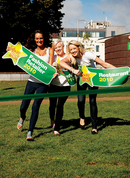 Caoimhe McClafferty, Emma Worley and Sarah Williams of the Central Park Promotion Team race to the finish line as voting for the Galway's Best Awards 2010 closes next Tuesday.