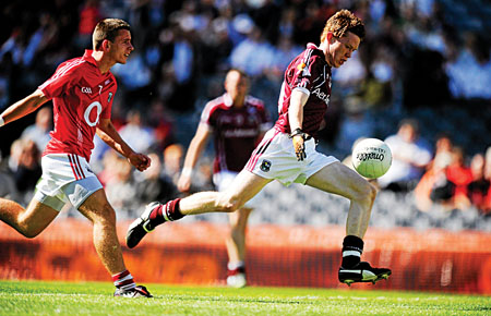 Kilkerrin/Clonberne's Conor Rabbitte on the way to scoring his first and Galway's fourth goal against Cork - it was not enough against a Cork side that dominated the second half.