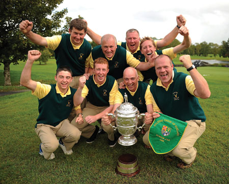 The Portumna Golf Club team celebrate success in the Bulmers Junior Cup final. Back row, Shane Ryan, team captain Matt Donoghue, John Cleary and Niall Kilkenny. Front row, Shane McHugo, Sean Cleary, Ger Lynch and Pat Quinlan.