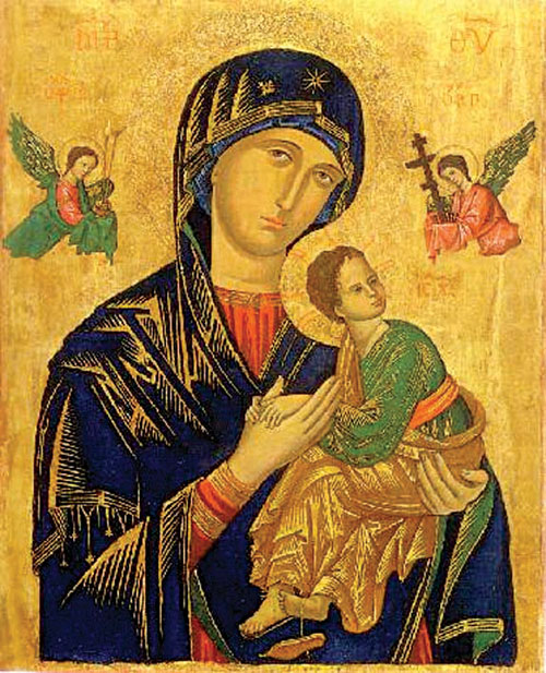 The Mother of God:  A late Byzantine icon, adopted into Roman Catholicism as Our lady of Perpetual Help.