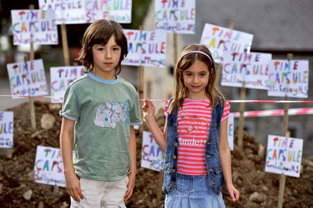 Pictured enjoying Westmeath Culture Night are Harry Kelly and Maeve Kelly of St Kenny NS, Mullingar, at the Time Capsule project at Belverdere House.