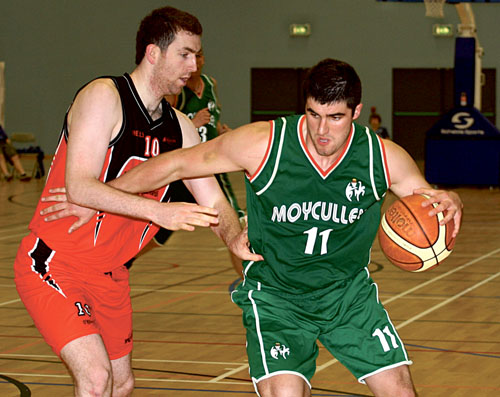 Moycullen forward Eoghan Maxwell holds off Killester's Ciaran O'Brien in action from the first game of the 2010 Super League at the Kingfisher NUI Galway on Sunday. 				Photo:-Mike Shaughnessy