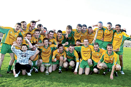 Corofin celebrate winning their third Galway minor football title in five years after overcoming St James on Sunday.		Photo: Mike Shaughnessy.