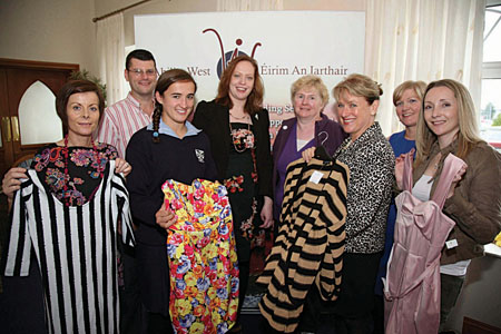 Pictured at the launch of Swap Til U Drop at the Menlo Park Hotel in aid of Galway Ability West were, front row: Fidelma Burke, under 17 Irish soccer ladies' captain; Dora Gorman; Breda Crehan-Roche, CEO Ability West; and Carol Browne. Back row: Ben Cowdell; Sharon Faherty, fundraising officer; Brega Kelly; and Bernie Coyne. Picture: Hany Marzouk.