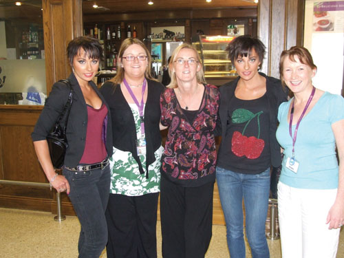 Pictured with the Cheeky Girls at Ireland West Airport Knock recently were Jean Hamilton, Paula Roberts and Trina Tiernan from Ireland West Airport Knock