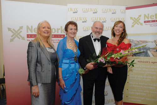 Director of the Harlequin Hotel Mary Jennings, Ann Hession, president of Network Ireland and Senator David Norris with Network Ireland 2010 winner, Lynda Foley, general manager of the Harlequin Hotel, Castlebar.