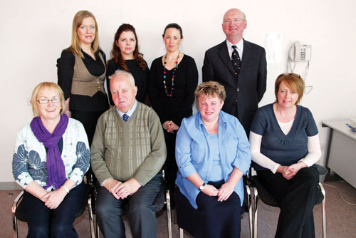 Members of the Disability Working Group for Westmeath, pictured this week in Clonbrusk Resource Centre. Back L-R: Susan Bray, Edel McCallan, Mary Chapman, Tom Hogan. Front L-R: Marion Gillespie, Hugh McGuire, Linda-Jo Quinn, and Maria O'Callaghan. Photo: molloyphotography