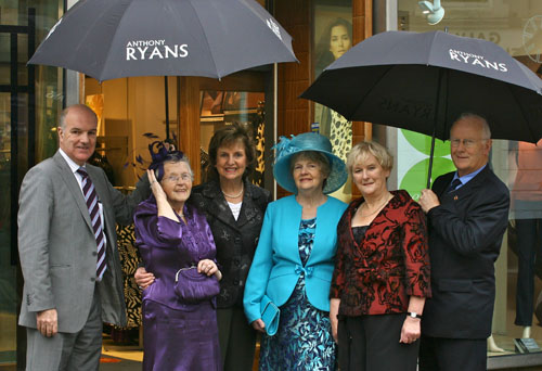 Launching the Anthony Ryans Fashion show were ( l-r) Anthony Ryan, Margaret Dowling, Breda Ryan, Jean De Cleir, Betty O'Flynn and Christy Carroll. Photo:-Mike Shaughnessy