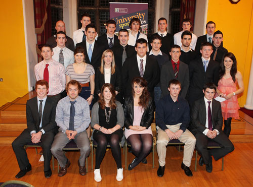 The group of NUIG students who received sports scholarships at a special ceremony at the college this week.