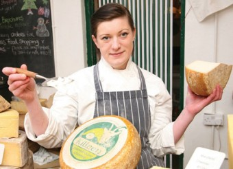 Carol Dolan cheesemonger at Sheridans with the Portumna made Killeen goat milk gouda style cheese. Photo:-Mike Shaughnessy