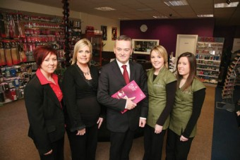 John Donnellan director of Flair Hair & Beauty Supplies with his team ( l-r) Diane McDonagh and Karen O'Neill managers and Maria Hanley and Jennifer Reidy sales asistants. Photo:-Mike Shaughnessy