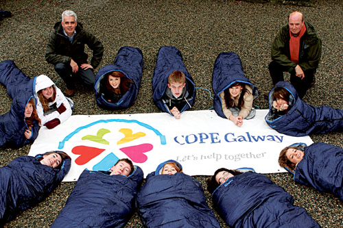 Pictured at St Nicholas' Church at the launch of the 2010 COPE Galway Sleep Out are Rev Gary Hastings, St Nicholas' Church, Fintan Maher, COPE Galway and transition year students from the Jes.