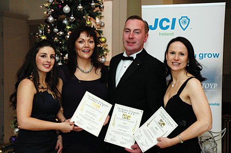 Victoria Whelan, JCI Galway president 2010 with JCI Galway's awards winners Evelyn Cormican, George Conboy, and Mary Giblin – the recipients received the title of 'JCI Senator' the highest honour and honorary life long membership, recognising their outstanding contribution to Junior Chamber.