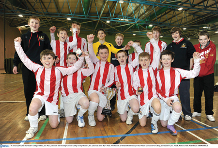 Best of the best: St Muredach's Ballina celebrate winning the FAI Schools All-Ireland Post Primary Futsal competition this week. A girls' team from Davitt College, Castlebar, also reached the finals of the competition. Photo: Sportsfile.