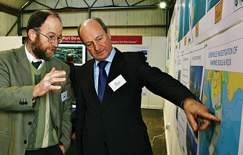 John Kelly of Tobin Consulting Engineers and Eamon Bradshaw CEO of Galway Harbour Company attending the public forum on the Galway Port Development Plan. Photo:-Mike Shaughnessy