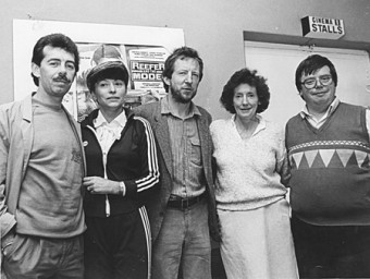 Fred Diviney (far right) with (second left) manager of the Claddagh Palace Marie Francoise Chevalier,  and (left) actor Ray McBride, director Joe Comerford, and Lelia Doolan, producer of the 1987 film Reefer and the Model, shown at the Film Fleadh that year.