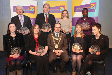 Pictured at the 2010 Mayors Awards at the Black Box were Paddy Connolly of Hibs Foyle,  Dr Richard Joyce of Galway Hospice, Treacy Fergusson of  the