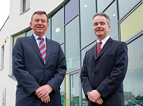 Enterprise Equity partner Eric Reed and Chris Davey, managing director of Marvao Medical, at the company headquarters in Galway. Photo: Andrew Downes