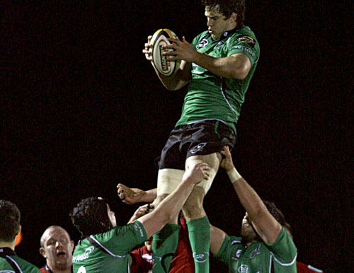 Connacht's Mike McCarthy secures line-out ball against the Scarlets last week, and coach Eric Elwood will be looking for another big performance from his pack tomorrow evening.