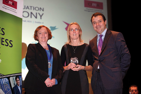 Paula (centre) is pictured with Dervla Geraghty, president of CIMA West of Ireland branch, and Alan Flanagan, vice president, CIMA Ireland, at the presentation of an award to commemorate her achievement.