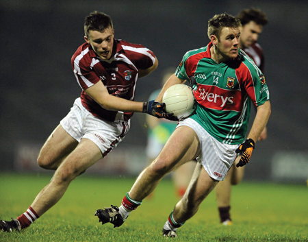 Looking to impress: Aidan Kilcoyne kicked 1-3 for Mayo last week in the FBD League final against NUIG, could he make the step up against Kerry on Sunday in the National Football League. Photo: Sportsfile.