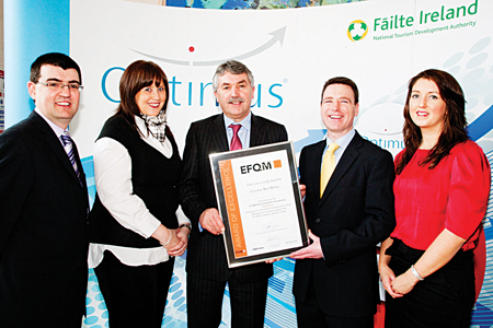 Pictured at the Fáilte Ireland Optimus Awards were (l. to r.): John Frazer, Mary Conroy, Galway Bay Hotel; Aidan Pender, Fáilte Ireland; Dan Murphy, director/general manager and Louise Campbell, Galway Bay Hotel. The gotel received an EFQM Award (one of Europe's leading companies) at the Ceremony