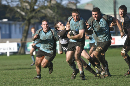 Ivan Muldoon of Galwegians leads an attack on the Buccaneers line in action from the Ulster Bank League  game at Crowley Park on Saturday.  Photo:-Mike Shaughnessy