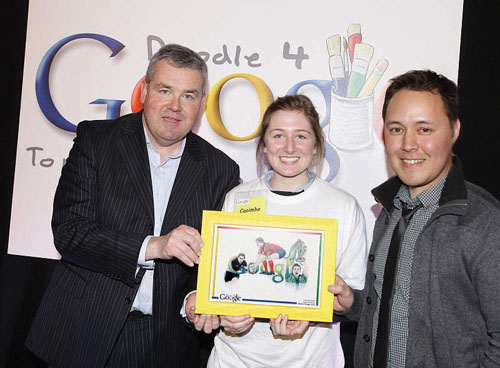 Caoimhe Walsh (sixth year) from Our Lady's Bower, Athlone receives a framed copy of her doodle from John Herlihy, head of Google Ireland.