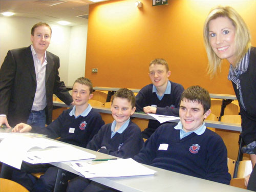 Tomas Heneghan, Archbishop McHale College, with students and Ria O'Meara AIB at Enterprise Challenge GMIT.