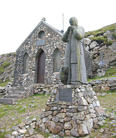 St Patrick, the shepherd: Now the guardian of Maan Eán, Cliodhna Cussen's fine sculpture.