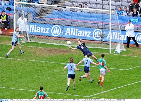 Game on: Alan Freeman scores Mayo's third goal against Dublin in Croke Park. Photo:Sportsfile