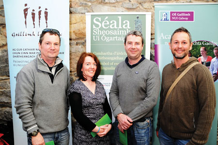 Charlie Brehony, Galway Dive School, Pauline O'Dwyer, EmployAbility Services Galway and Ken Walsh, Food 4 Thought. Also in the photograph is Paul Hardmian, An Seomra Yoga (Winners of Gradam Speisialta na Moltóirí).