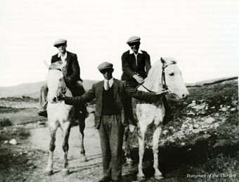 Ready for the off: Moycullen ponymen getting ready to race in the 1930s