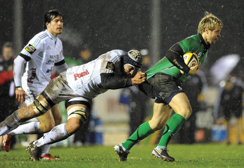 Last man tackle: Connacht's Fionn Carr are hoping to keep moving up the Magners League table. Photo: Sportsfile.