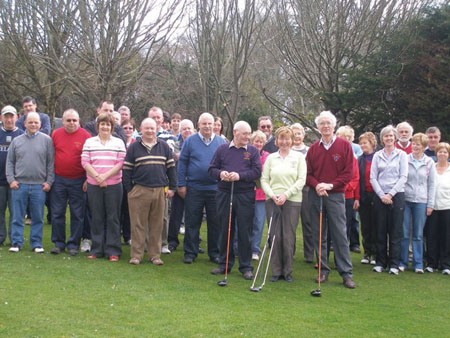 From tee to green: Members of Balla Golf Club line up for the captains' drive in at the golf course last weekend.