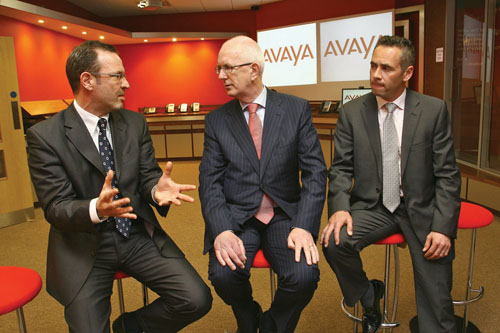 At the announcement were ( l-r) Michael Bayer, president of field operations Avaya EMEA, Barry O'Leary, IDA CEO and Jason Flynn, country manager, Avaya Ireland. Photo:- Mike Shaughnessy