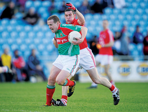 No stopping Andy: Andy Moran breaks free of Cork challenge last Sunday. The Ballaghaderreen clubman has been one of the few constants on the Mayo team sheet this season. Photo: Sportsfile.