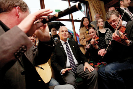 His Serene Highness  Prince Albert II of Monaco was treated to a lively session of traditional music in the  Grainne Uaile Pub, Newport on Wednesday evening when he visited the ancestral home of his mother, the late  Princess Grace.  Photo: PhotocallIreland.