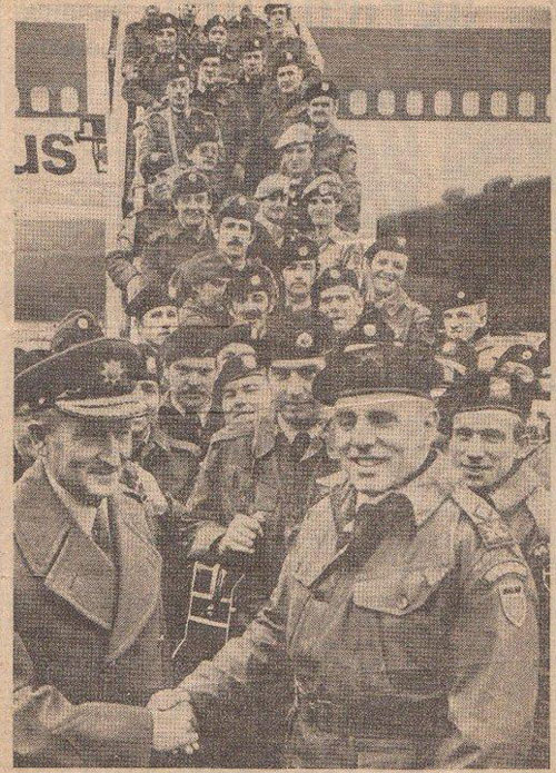 RSM Noel O'Callaghan, with trademark moustache en route to Lebanon with General Vincent Savino in 1978, as pictured in the Irish Independent. Noel is in the middle of the picture, three heads back from the front.