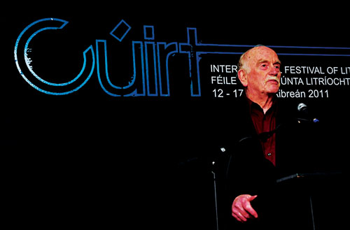 Writer Tomas Kilroy speaking at the opening of the Cuirt International Festival of Literature which runs until Sunday.  		 Photo: Mike Shaughnessy