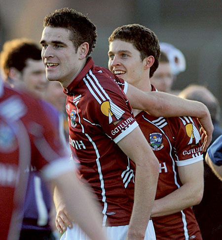Fiontan O Curraoin and Colin Forde celebrate victory over Cork in the Cadbury GAA All-Ireland Football u-21 Championship semi-final.