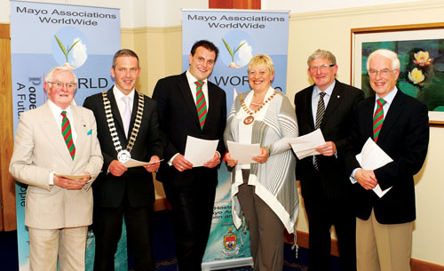 Pictured at the launch of the eleventh Mayo Associations Worldwide Convention, in Hotel Westport, were Donal Downes, Mayo Association Galway; Cllr Ger Deere, Mayor of Castlebar; Sean Reid, Mayo Association Dublin, chairman, organising committee; Cllr Tereasa McGuire, Cathaoirleach, Westport Town Council; Cllr Austin Francis O'Malley (representing Peter Hynes, county manager, and Cllr Michael Burke, Cathaoirleach MCC); and Michael Morley, chairman, Mayo Association Galway. Photo: Michael Donnelly.