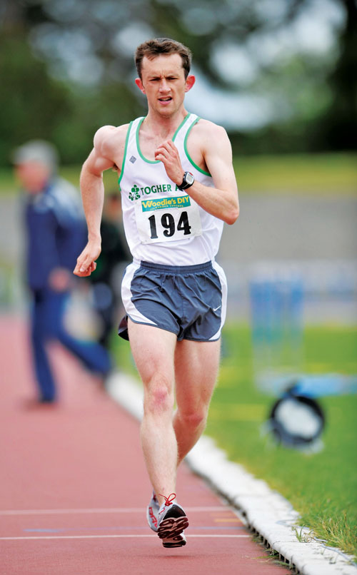 Racing for victory: Cian McMenamon, Westport AC, in action during the 5km walk at Woodie's DIY AAI Games, Morton Stadium, Santry, Dublin. Photo:Sportsfile